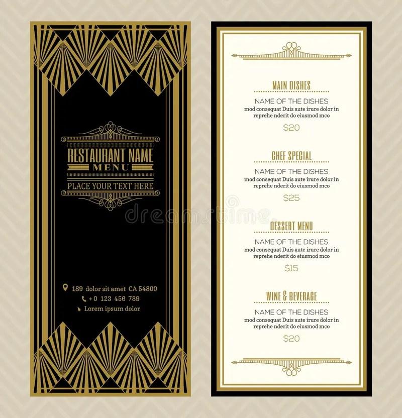 Restaurant Or Cafe Menu Design Template With Vintage Retro Art Deco - menu design template