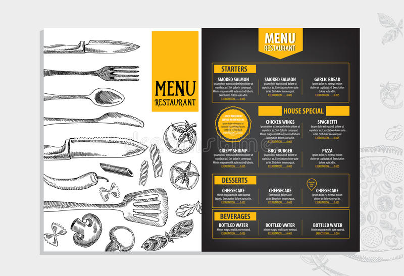 Restaurant Cafe Menu, Template Design Food Flyer Stock Vector