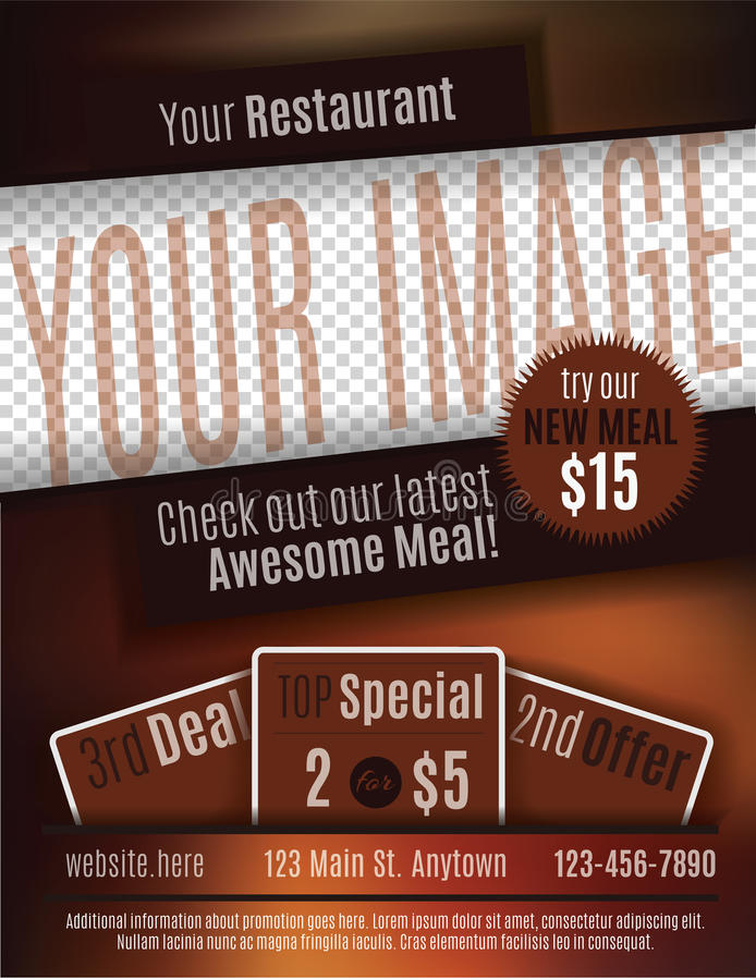 Restaurant Coupon Flyer Template Stock Vector - Illustration of