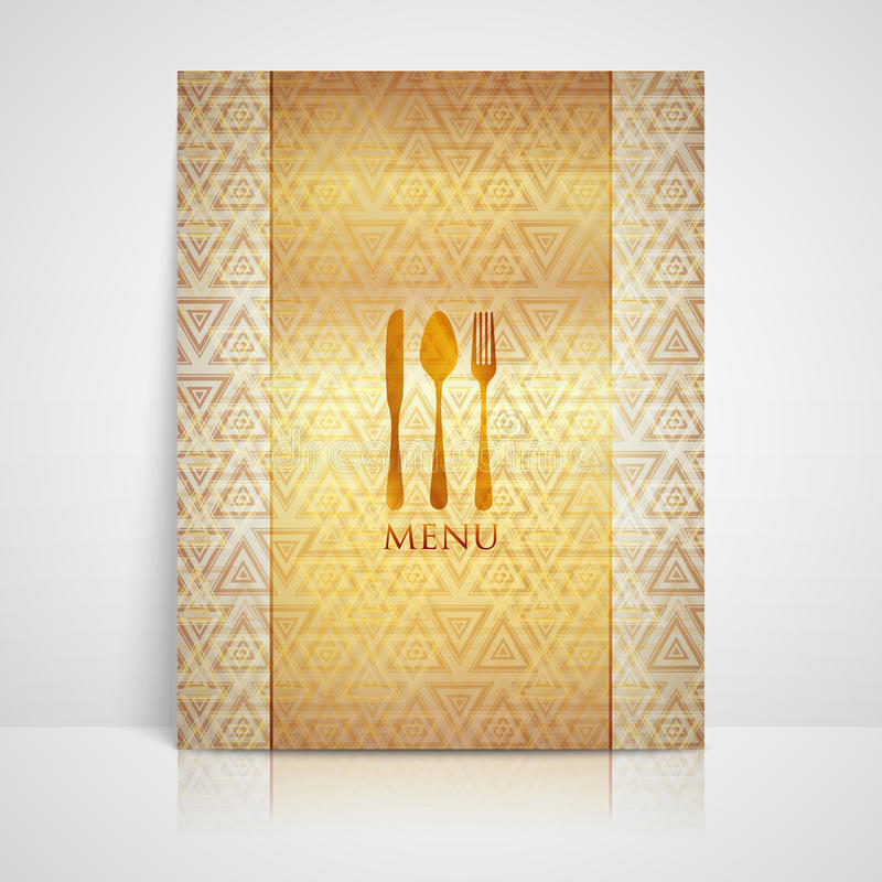 Restaurant Menu Design With A Spoon, A Fork And A Knife Stock