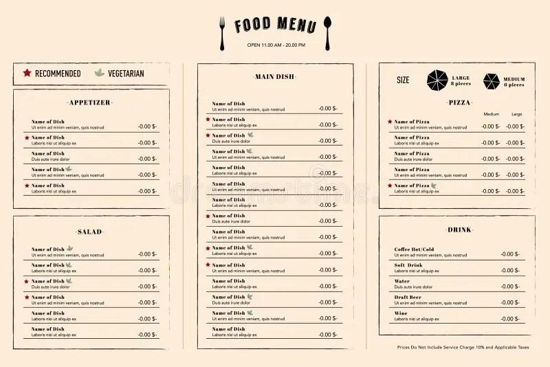 Restaurant Menu Design Template Layout With Logo Stock Vector - menu design template
