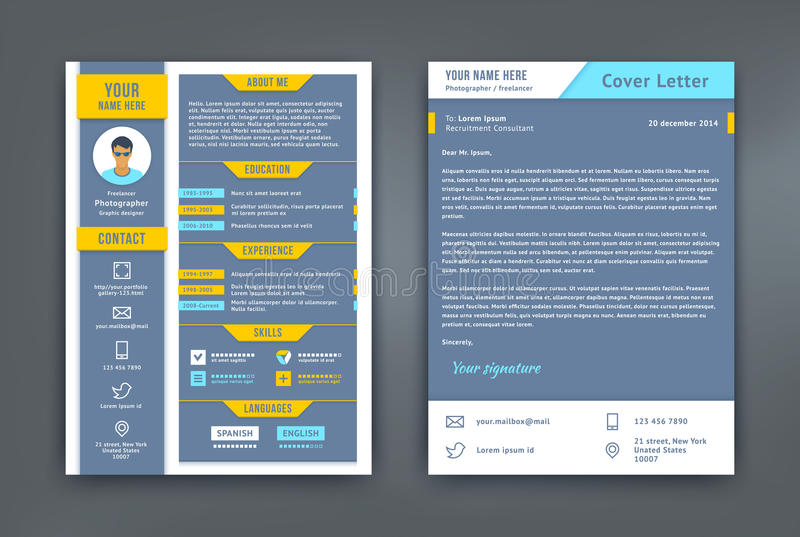 Resume And Cover Letter Or CV Template Stock Vector - Illustration