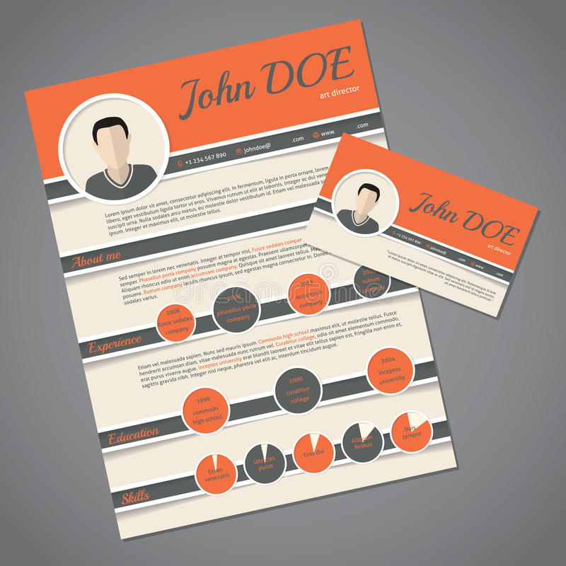 Resume Cv Template With Business Card Stock Vector - Illustration of - business card resume