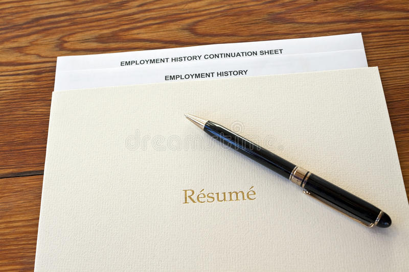 Resume Folder With Pen And Employment History Stock Image - Image of - resume folder