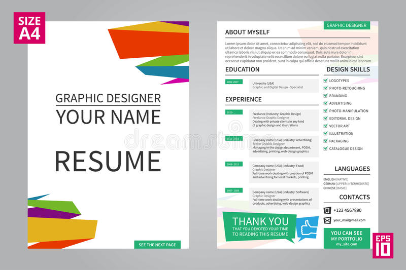 Resume Graphic designer stock vector Illustration of hiring - 71102879 - resumes for graphic designers