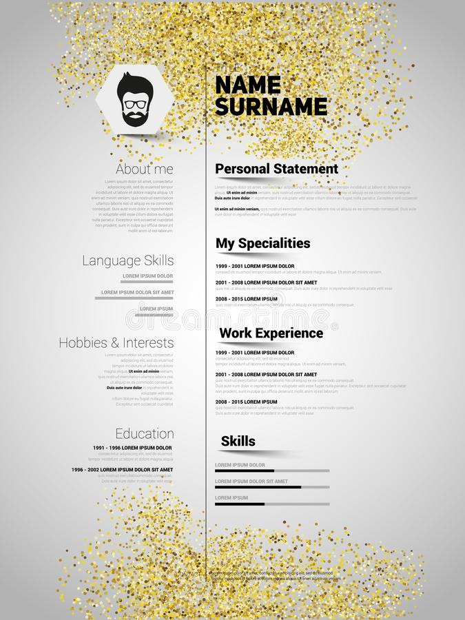 Resume Minimalist CV In Gold Glitter Style, Resume Template With - minimalist resume template