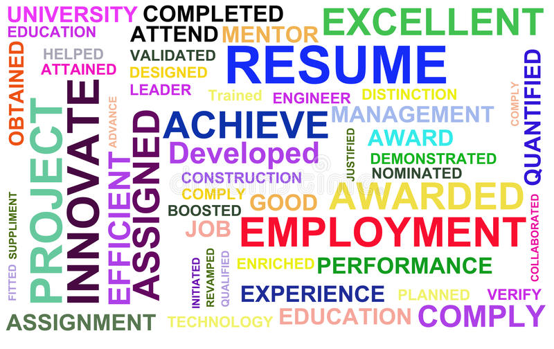 Resume powerful words stock illustration Illustration of instrument