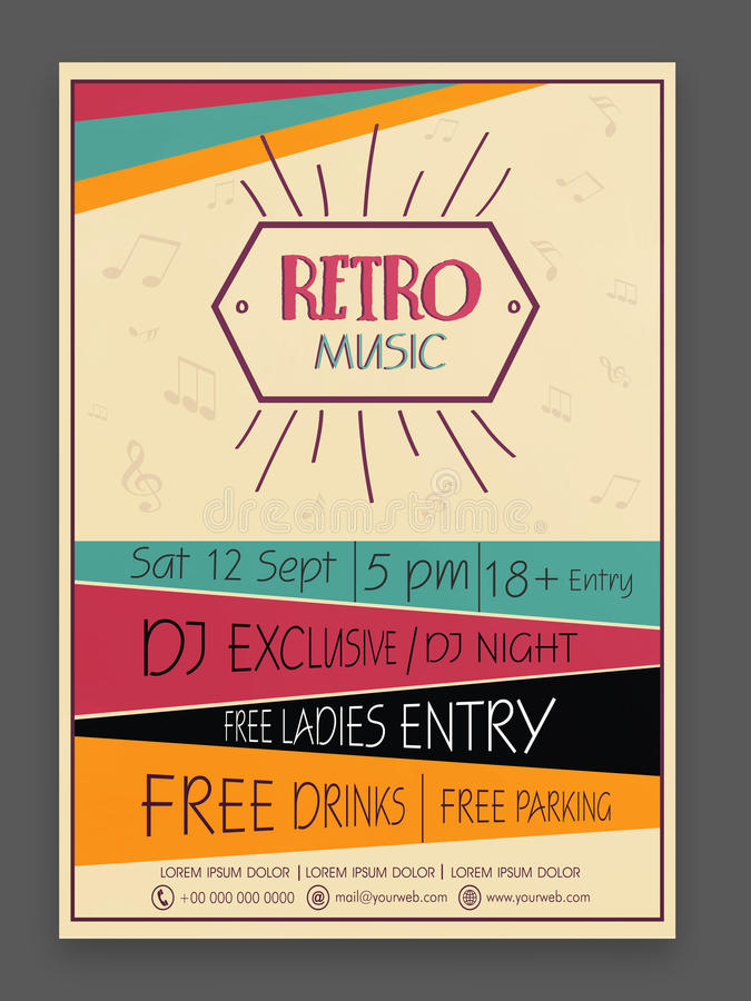 Retro Music Party Celebration Flyer Or Template Stock Image - Image