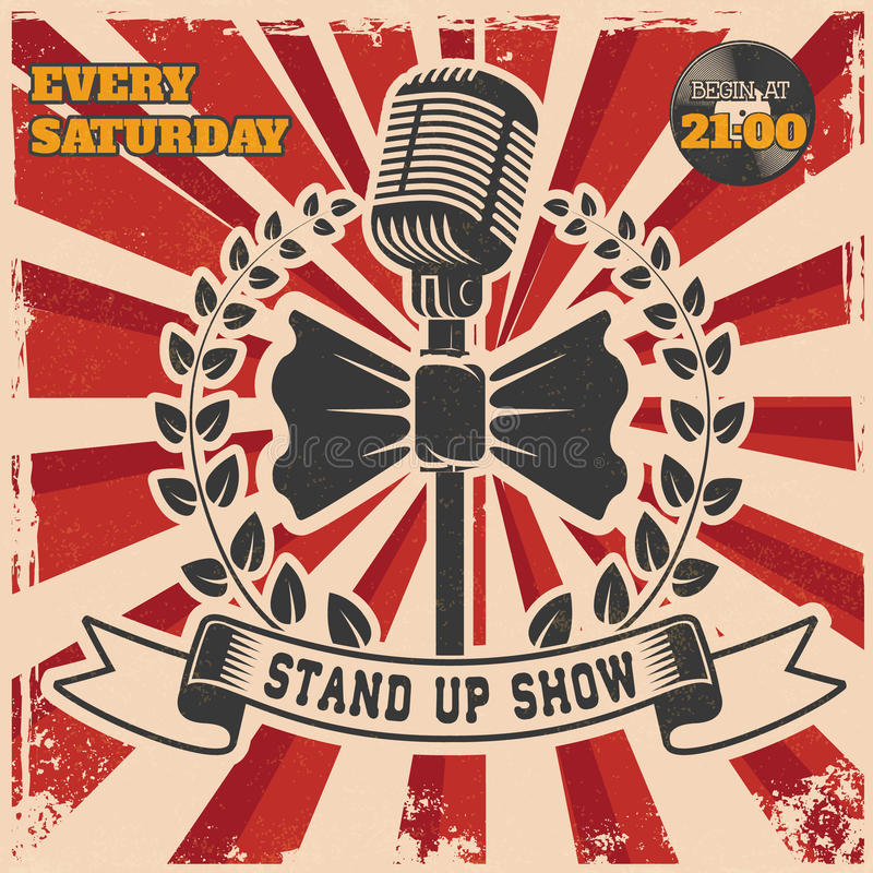 Retro Stand Up Comedy Show Vintage Poster Template Stock Vector - propaganda poster template