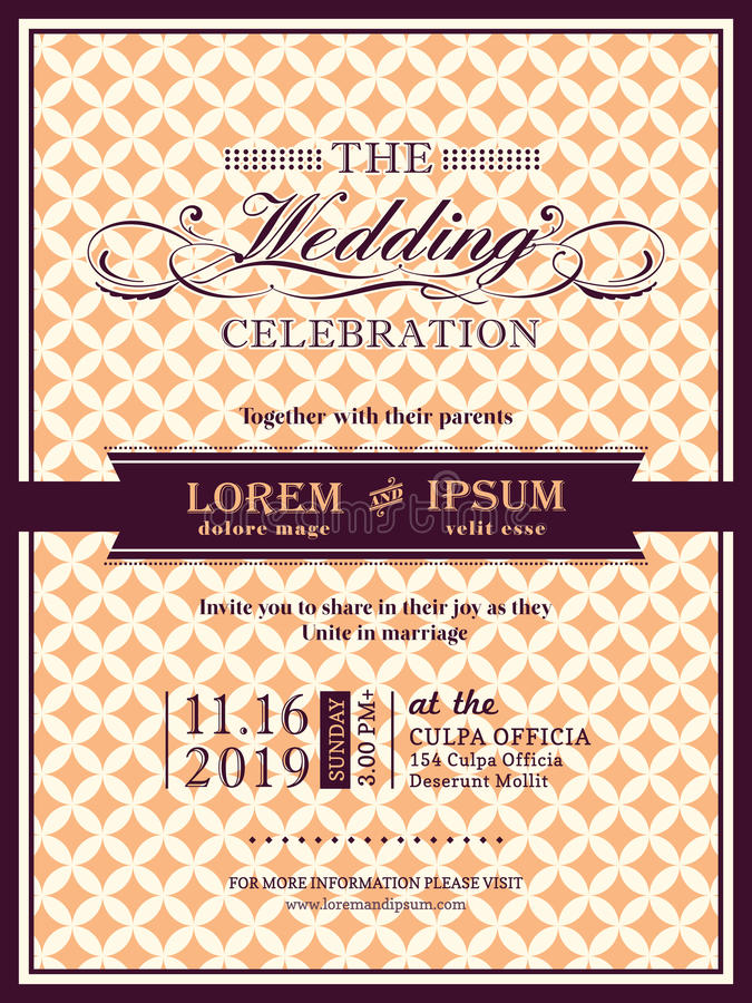 Ribbon Banner Wedding Invitation Frame Template Stock Vector - invitation information template