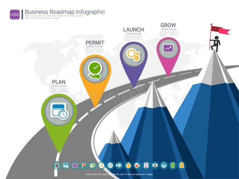 Roadmap Timeline Infographic Design Template, Key Success And