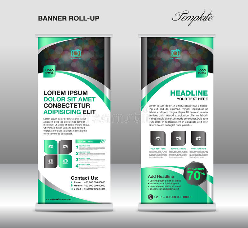 Roll Up Banner Stand Template, Stand Design,banner Template, Gre - advertisement flyer template