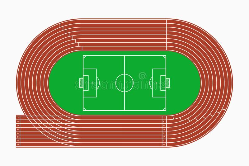 top view of running track and soccer field vector illustration