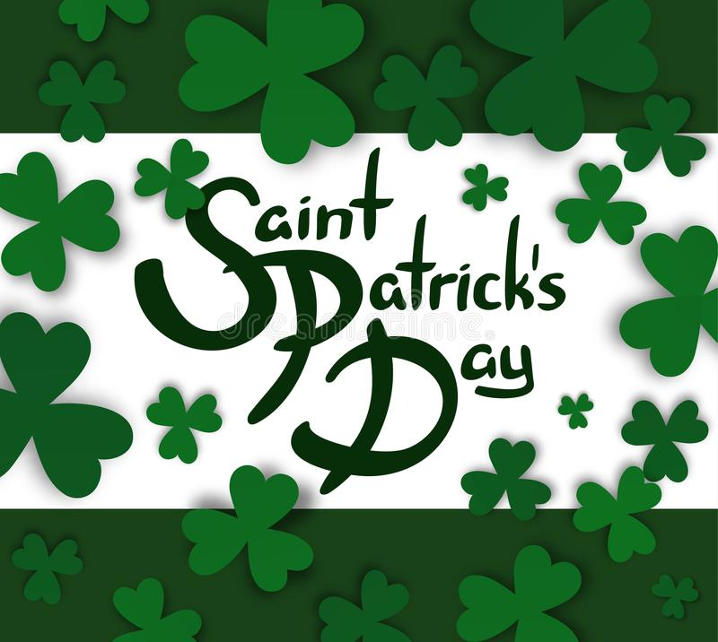 Saint Patrick`s Day Hand Drawn Lettering With Green Borders And