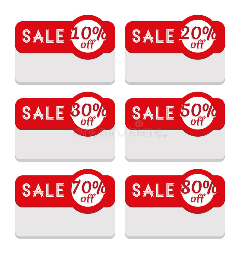 Sale Tag Template Featuring Various Discount Percentage Stock - sale tag template