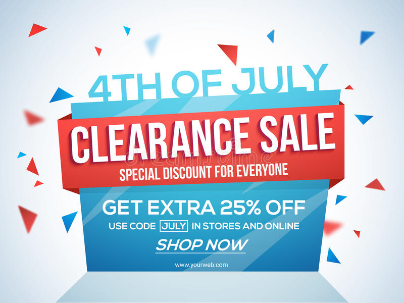 Sale Template, Banner Or Flyer For 4th Of July Stock Illustration