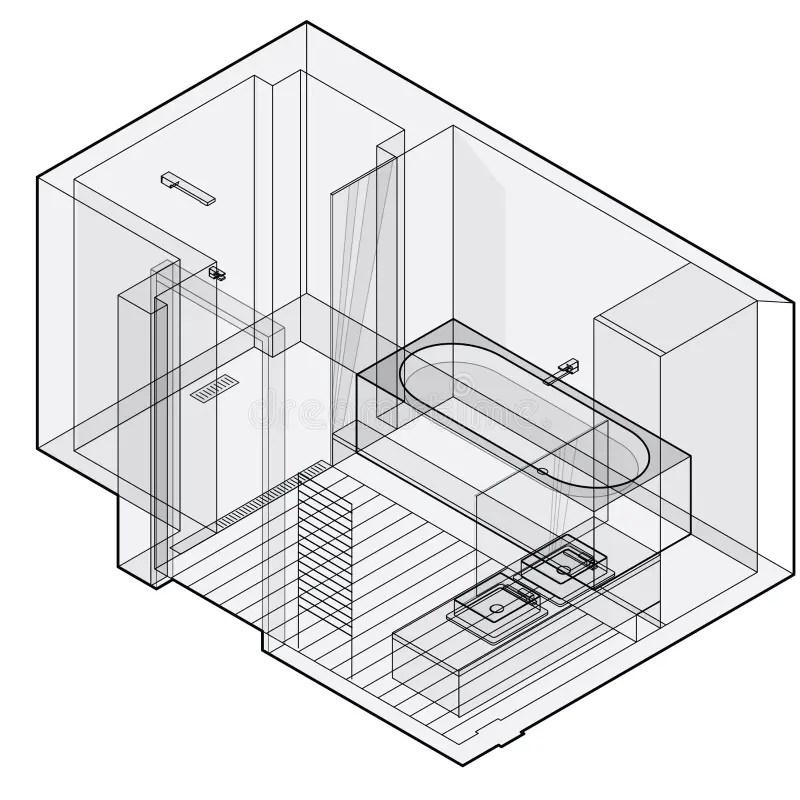 Salle De Bains Moderne Avec Le Plancher En Bois, Perspective