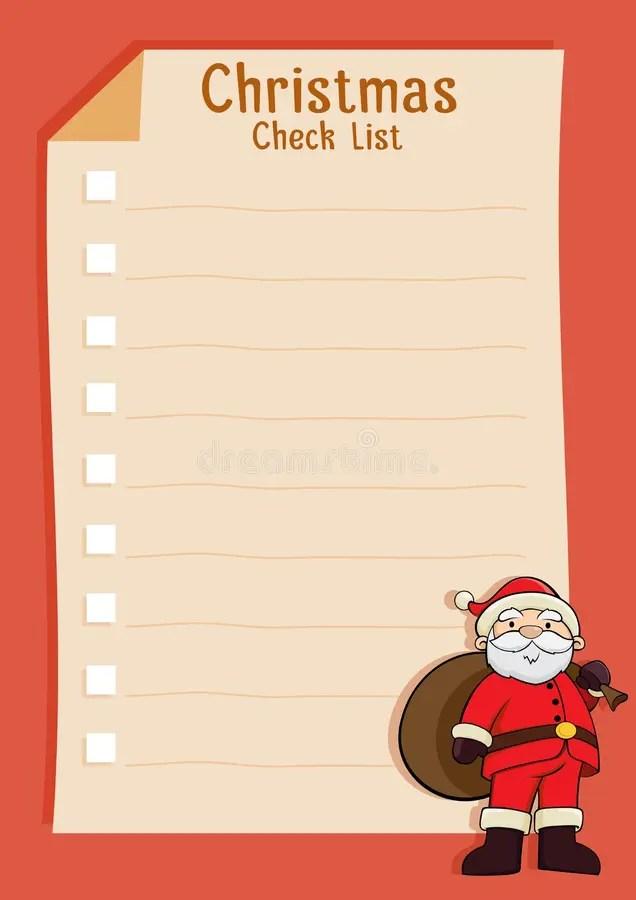 Santa Blank Christmas Check List Stock Vector - Illustration of - santa list blank