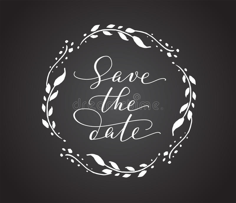 Save The Date Card With Floral Wreath Chalk Board Style Black And - chalk board invitation template