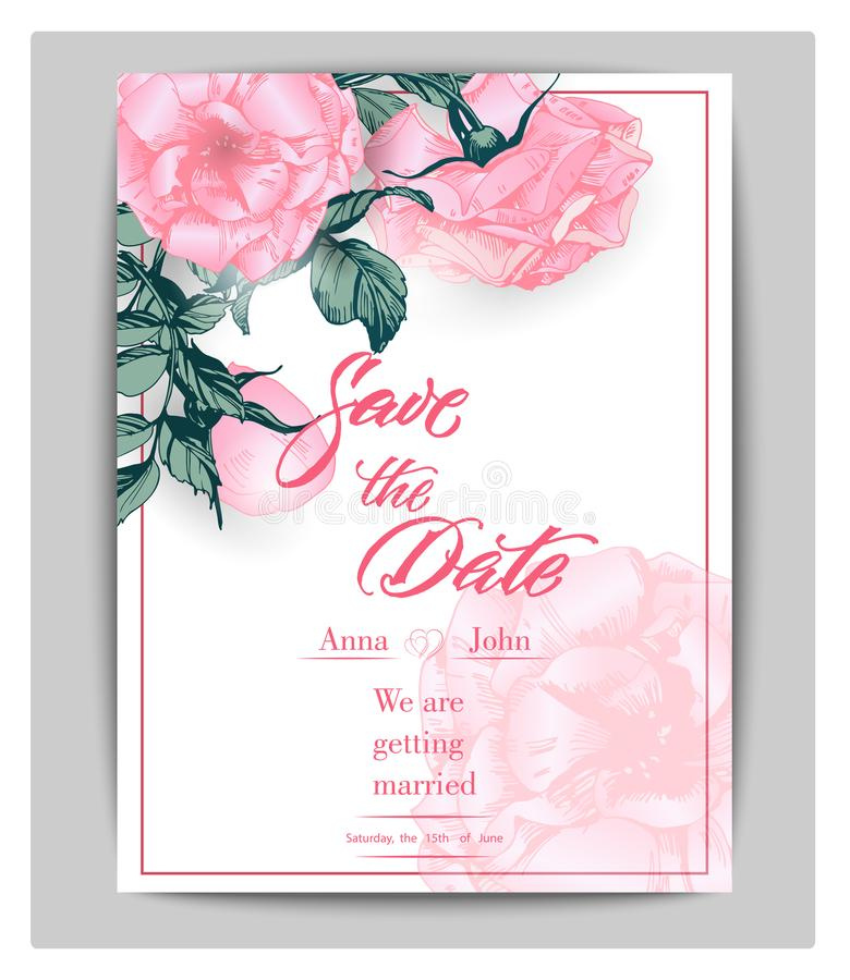 Save The Date Cards With Roses Can Be Used For Wedding Invitation - save the date birthday template