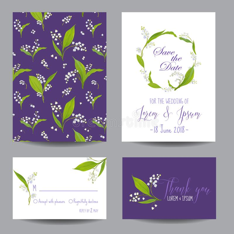 Save The Date Wedding Cards Set With Blossom Lily Flowers Birthday