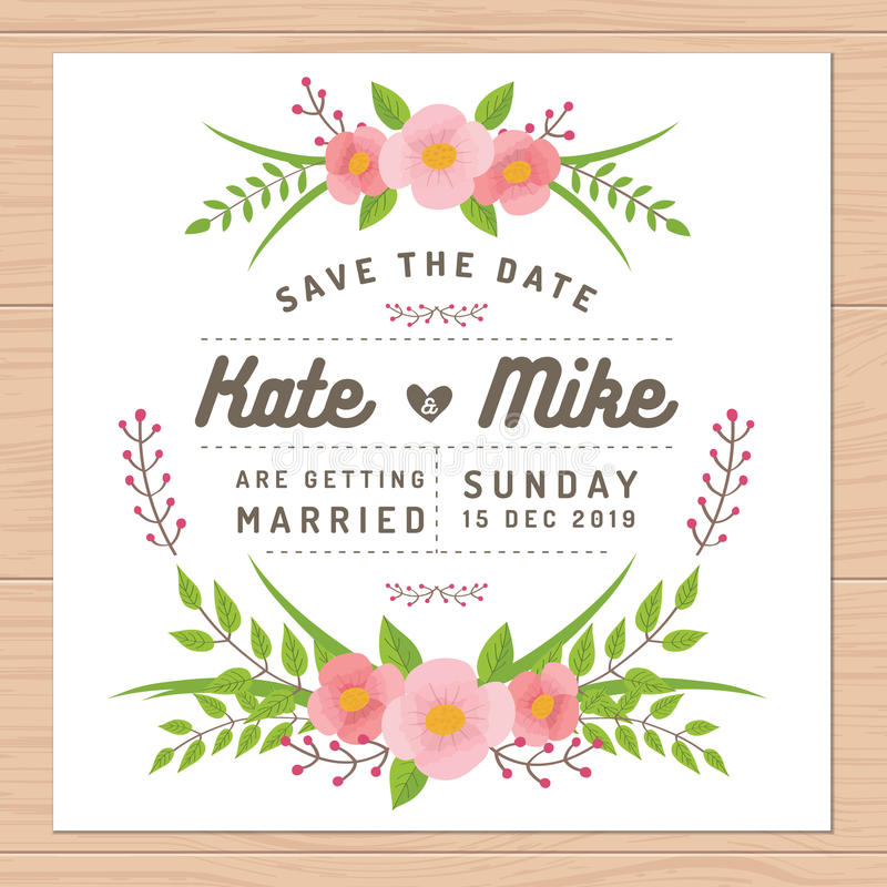 Save The Date, Wedding Invitation Card With Flower Templates Flower