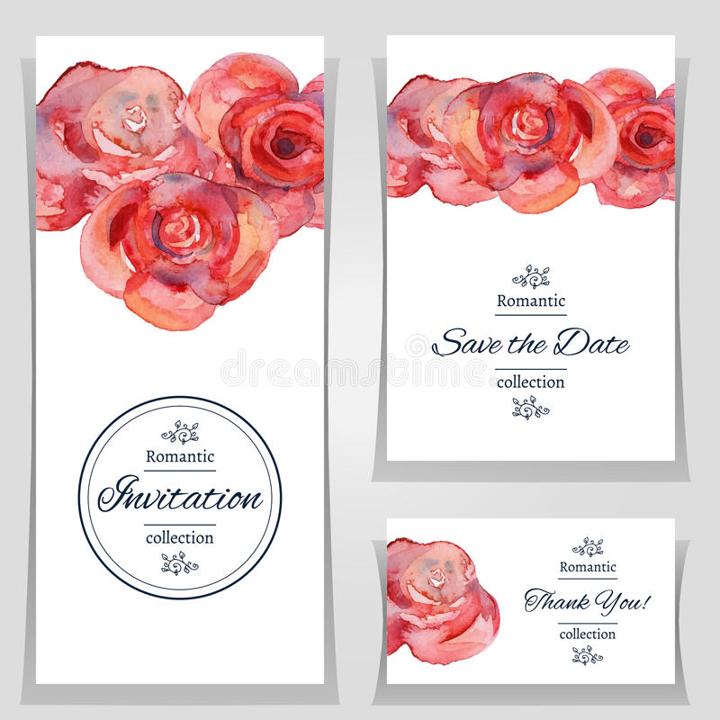 Save The Date Or Wedding Invitation Template With Roses Stock