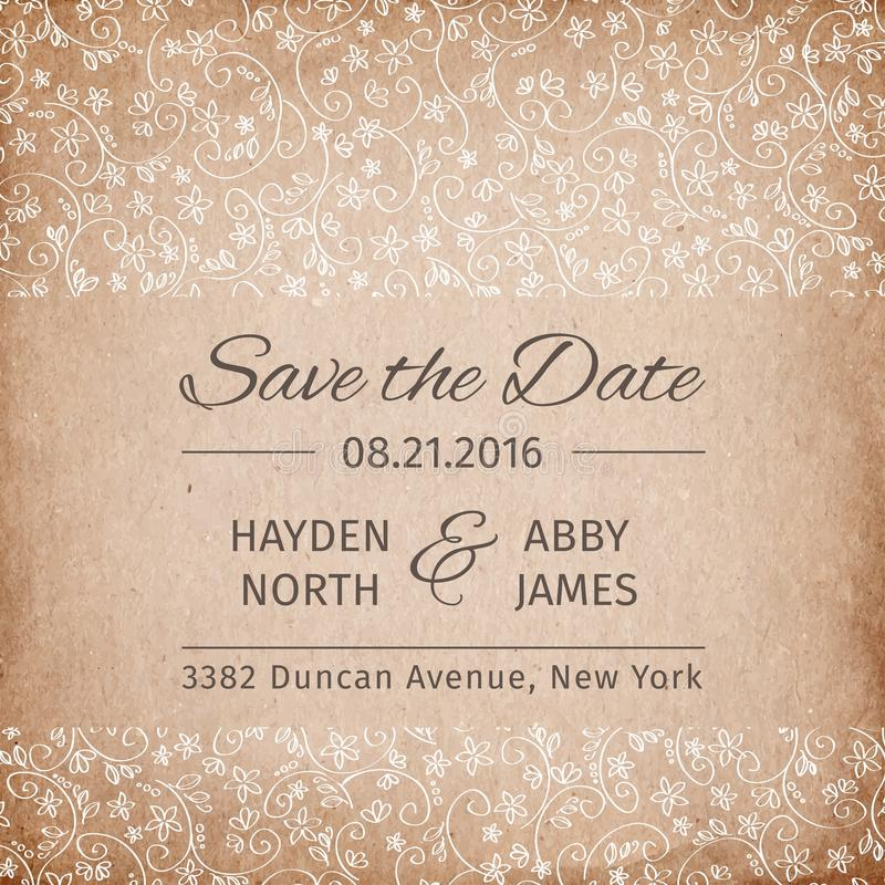 Save The Date Wedding Invitation Template Vintage Paper Texture - Save The Date Wedding Templates
