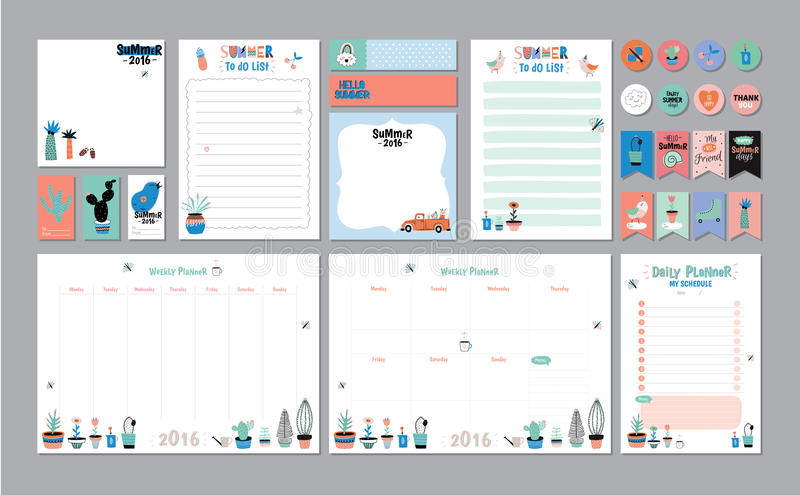 Scandinavian Weekly And Daily Planner Stock Vector - Illustration of - daily organizer template