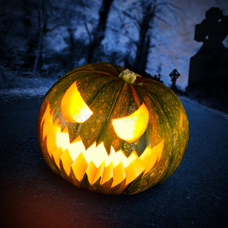 Fall Graveyard Cemetery Wallpaper Scary Halloween Pumpkin In Dark Forest Royalty Free Stock
