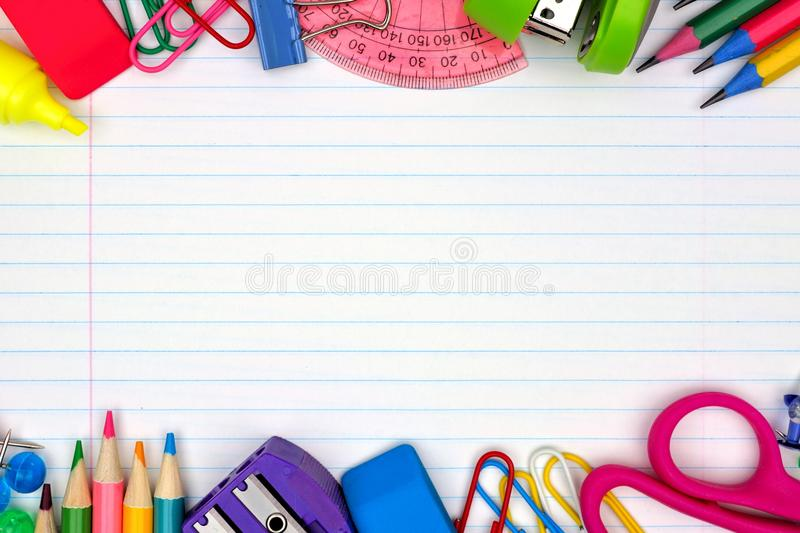 School Supplies Double Border On Lined Paper Background Stock Photo - line paper background