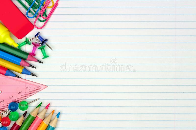 School Supplies Side Border On Lined Paper Background Stock Image - line paper background