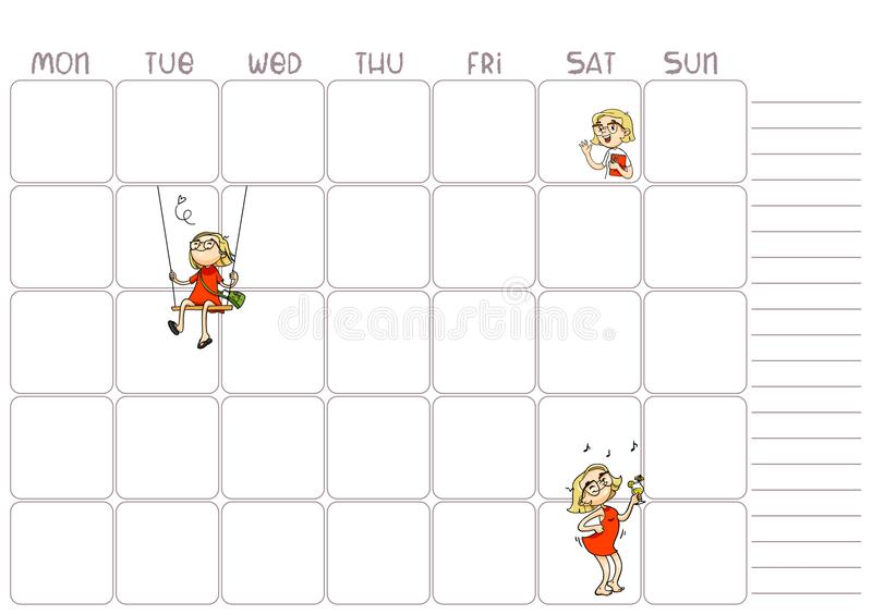 School Daily, Weekly Planner Template For Kids Vector Printable