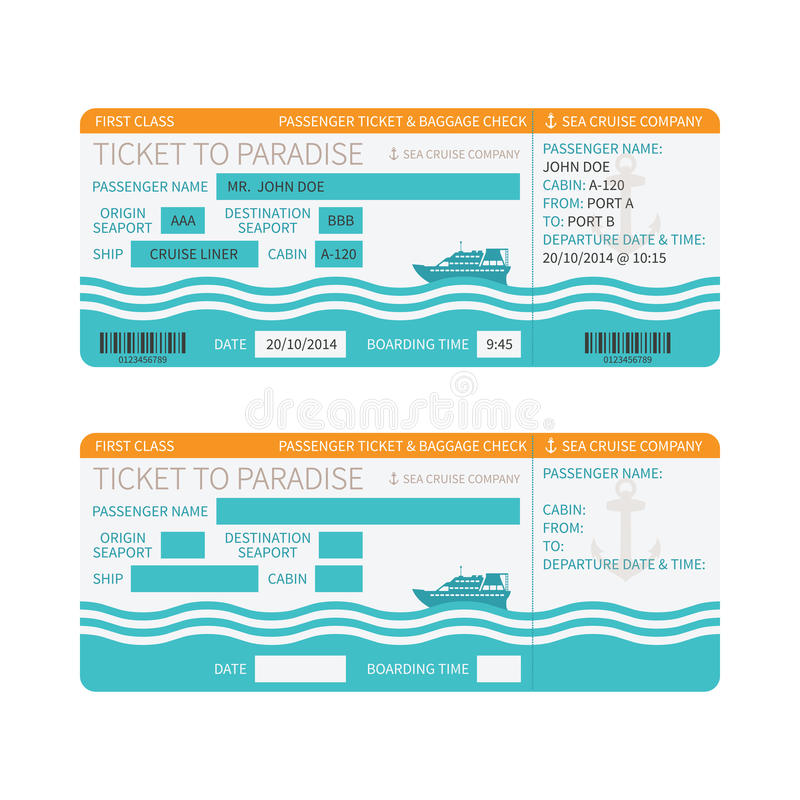 Sea Cruise Ship Boarding Pass Or Ticket Template Stock Vector - play ticket template