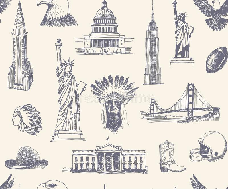 Seamless Background With Sketches Of Symbols Of The USA Stock Vector - background sketches
