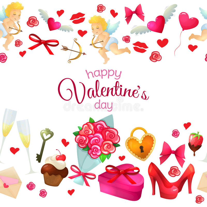 Seamless Horizontal Borders With Valentines Day Icons Stock Vector - 's day borders