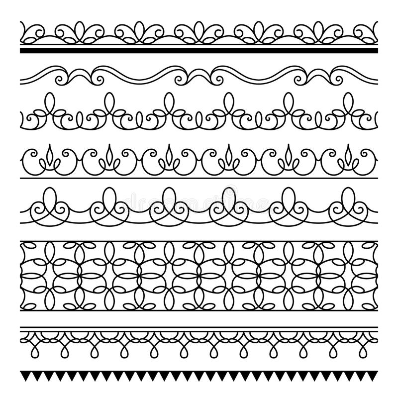 Seamless Lines, Set Of Simple Border Ornaments Stock Vector