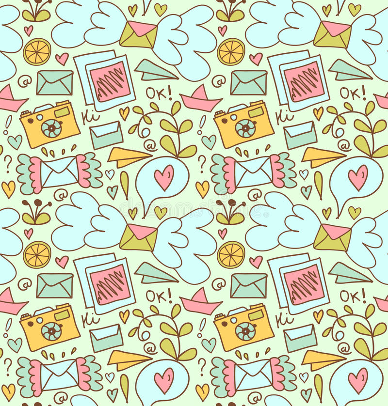 Seamless Mail Pattern Cute Doodle Background With Letters, Camera - mail background
