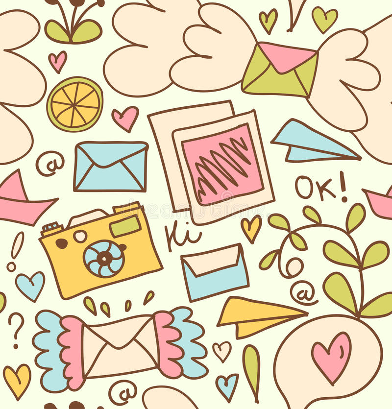 Seamless Mail Pattern Cute Post Background With Letters, Camera - mail background