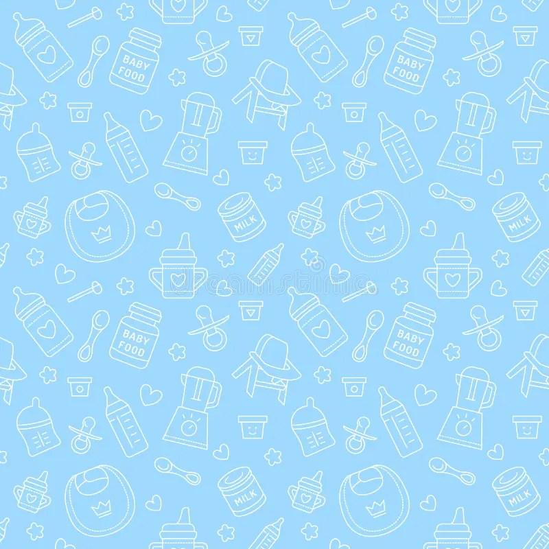 Newborn Baby Girl Wallpaper Seamless Pattern Baby Food Pastel Color Vector