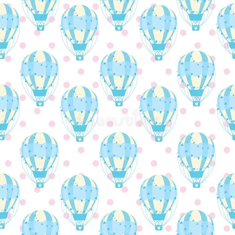 Seamless Pattern Of Cute Blue Hot Air Balloon On Polka Dot