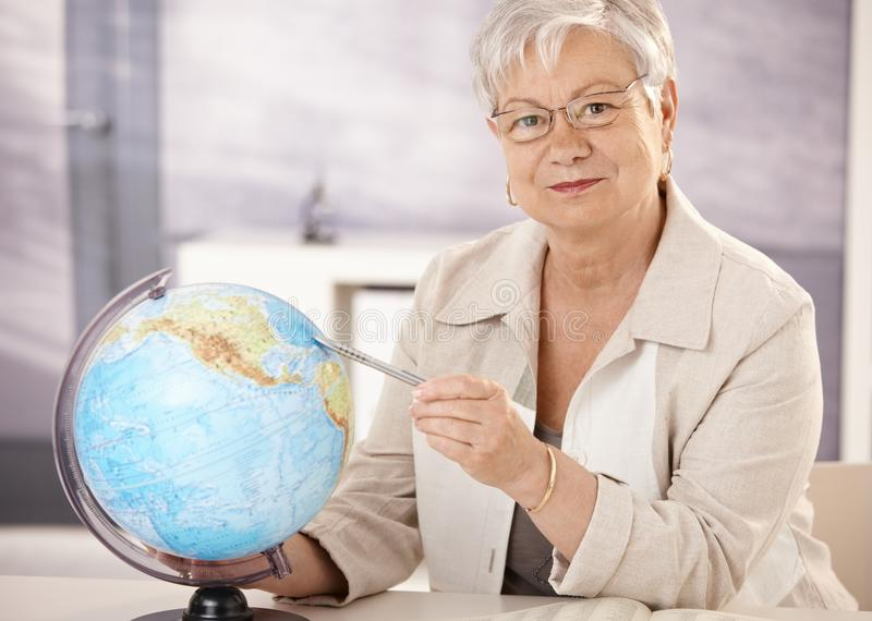 Dreamstime Images Senior Teacher Teaching Geography Stock Photo Image Of