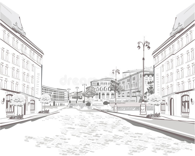 Series Of Sketches Of Beautiful Old City Views Stock Vector - background sketches