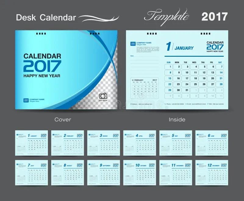 Set Blue Desk Calendar 2017 Template Design, Cover Desk Calendar - calendar template for website