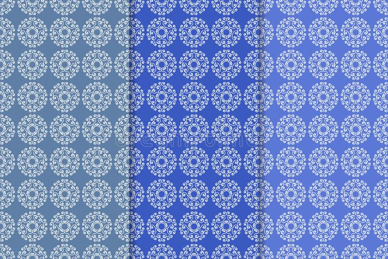 Set Of Blue Floral Ornamental Designs Vertical Seamless Patterns - vertical designs