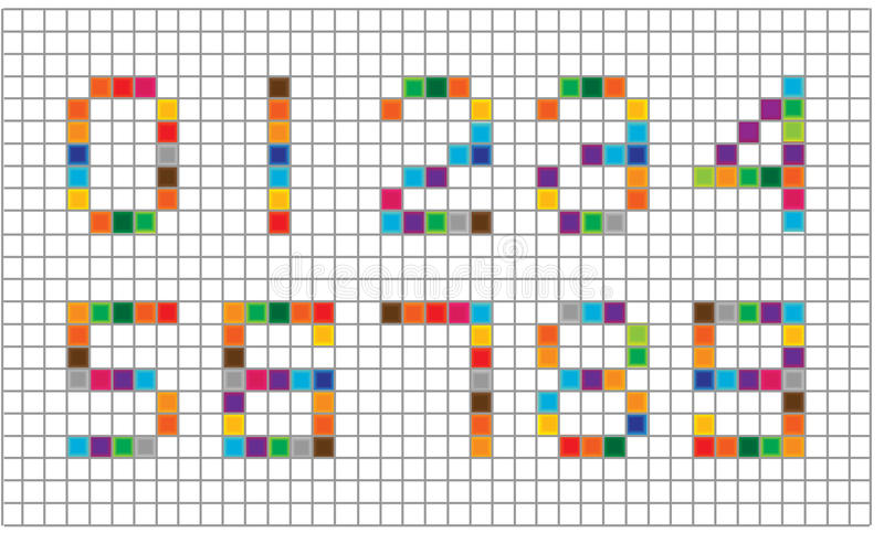 Set Of Bright Mosaic Numbers Stock Illustration - Illustration of - digital graph paper
