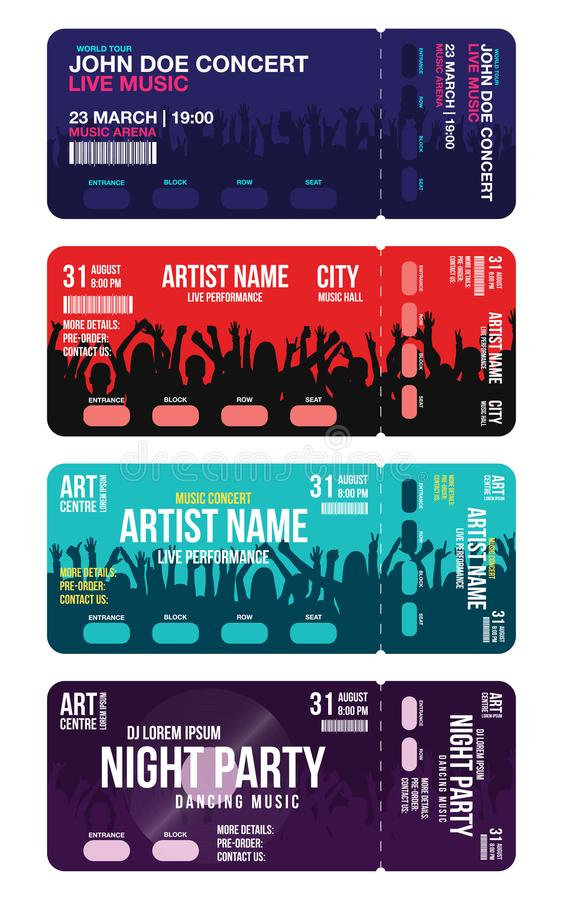 Set Of Concert Ticket Templates Concert, Party Or Festival Ticket