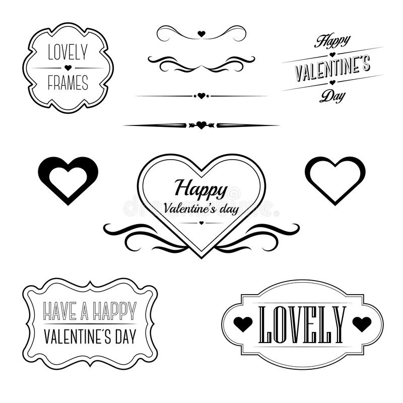 Set Of Decorative Frames, Sings And Borders Related To Valentine\u0027s
