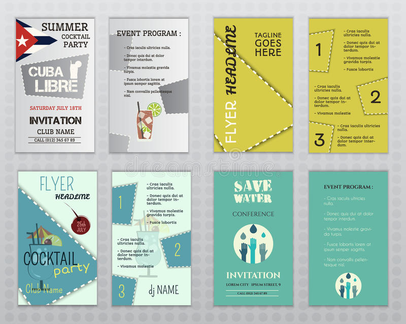 Set Of Flyer Layout Templates Cocktail Party Stock Vector - flyer layout templates