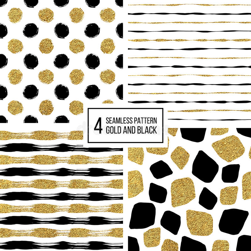 Set Of Grunge Seamless Pattern Black Gold Stripes, Polka Dots - stripes with polka dots